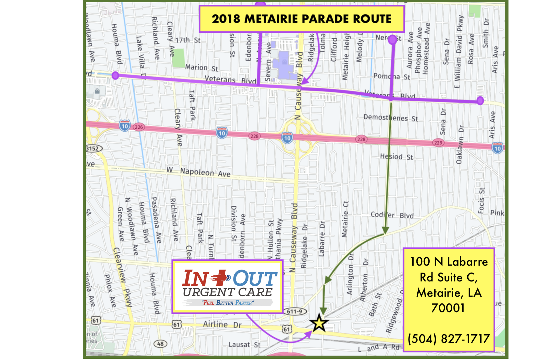 Metairie Parade Map 2018